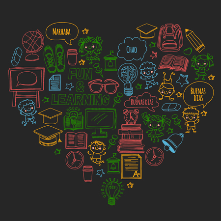 Blackboard vector doodle set of children studying and playing. Creative images for college, university, school. Vectores