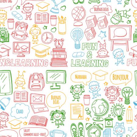 ベクトルは、子どもの遊びと白い背景の上の学校での勉強とセットを落書き。