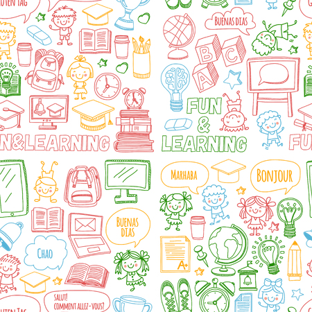 Vector doodle set with children playing and studying in school on white background.