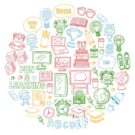 ベクトルは、子どもの勉強と、白い背景の上の学校の遊びとセットを落書き。