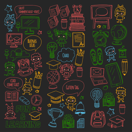 Blackboard vector doodle set of children studying and playing. Creative images for college, university, school. 向量圖像