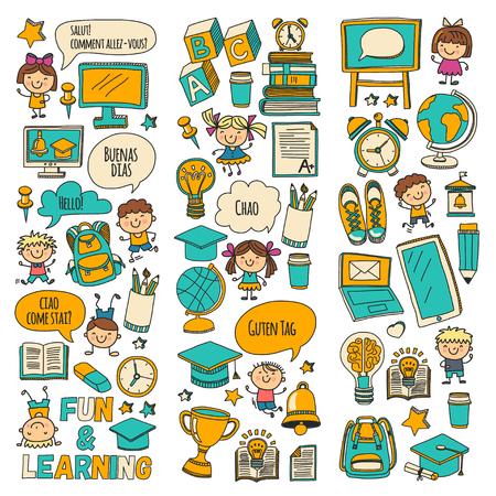ベクトル落書きは、白い背景に学校で勉強し、遊ぶ子供たちとセット。  イラスト・ベクター素材