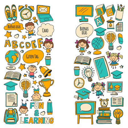 Vector doodle set with children studying and playing in school on white background.