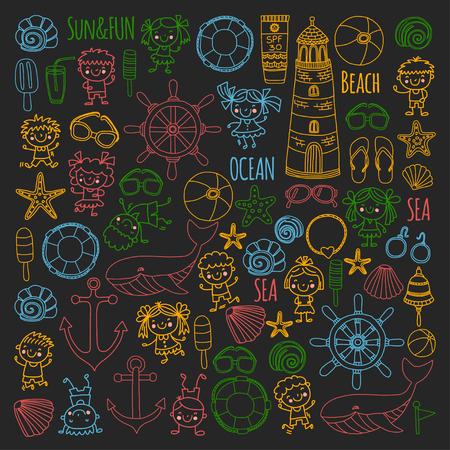 Conjunto de praia com férias escolares para crianças. Crianças pequenas, creche, mar, oceano, farol. Ícones e padrões de vetor de doodle e meninos e meninas. Foto de archivo - 90581529