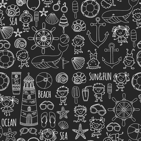 Conjunto de praia com férias escolares para crianças. Crianças pequenas, creche, mar, oceano, farol. Ícones e padrões de vetor de doodle e meninos e meninas. Foto de archivo - 90581548