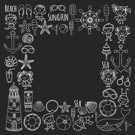 Conjunto de praia com férias escolares para crianças. Crianças pequenas, creche, mar, oceano, farol. Ícones e padrões de vetor de doodle e meninos e meninas. Foto de archivo - 90581585