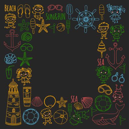 Conjunto de praia com férias escolares para crianças. Crianças pequenas, creche, mar, oceano, farol. Ícones e padrões de vetor de doodle e meninos e meninas. Foto de archivo - 90582036