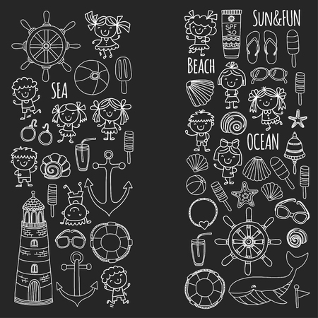 Beach set with childrens school vacation. Small kids, nursery, sea, ocean, lighthouse. Boys and girls doodle vector icons and patterns.