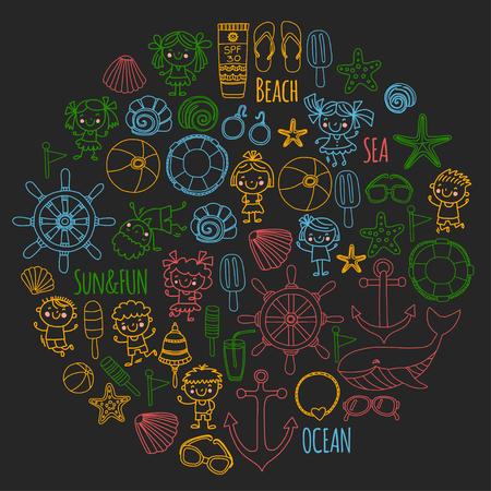 Strand met schoolvakantie voor kinderen. Kleine kinderen, kinderdagverblijf, zee, oceaan, vuurtoren. Jongens en meisjes doodle vector iconen en patronen.