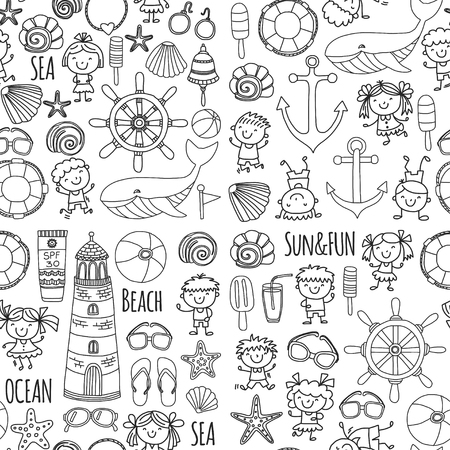 子供の学校の休暇の設定ページ ビーチを着色します。小さな子供たち、保育園、海、海、灯台。男の子と女の子は、ベクトルのアイコンとパターン
