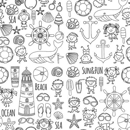 Disegno da colorare spiaggia con vacanze scolastiche per bambini. Bambini piccoli, asilo nido, mare, oceano, faro. I ragazzi e le ragazze scarabocchiano le icone e i modelli di vettore. Archivio Fotografico - 90582039