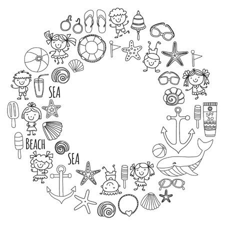 Página para colorear playa con vacaciones escolares para niños. Niños pequeños, guardería, mar, océano, faro. Niños y niñas doodle iconos vectoriales y patrones. Foto de archivo - 90582041
