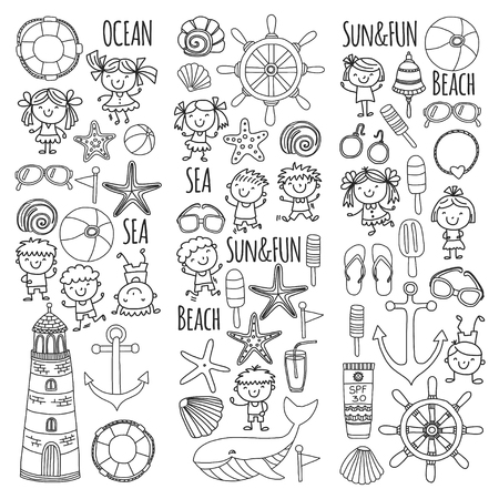 Coloring page beach set with children's school vacation. Small kids, nursery, sea, ocean, lighthouse. Boys and girls doodle vector icons and patterns. Zdjęcie Seryjne - 90582043
