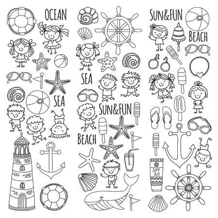 Página Para Colorear Playa Con Vacaciones Escolares Para Niños ...