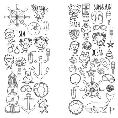 Página para colorear playa con vacaciones escolares para niños. Niños pequeños, guardería, mar, océano, faro. Niños y niñas doodle iconos vectoriales y patrones. Foto de archivo - 90582044