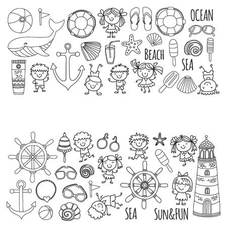 Kleurplaat strand met schoolvakantie voor kinderen. Kleine kinderen, kinderdagverblijf, zee, oceaan, vuurtoren. Jongens en meisjes doodle vector pictogrammen en patronen. Stock Illustratie