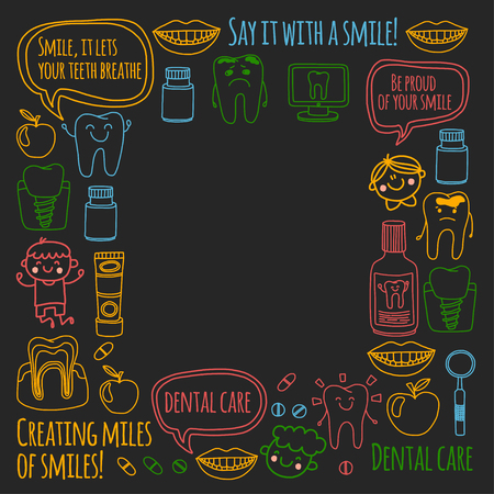 Children's dentistry school, kindergarten, nursery kids with healthy teeth. Smiles, toothbrushes, medicine Happy boys and girls. Dental treatment without pain. Ilustração