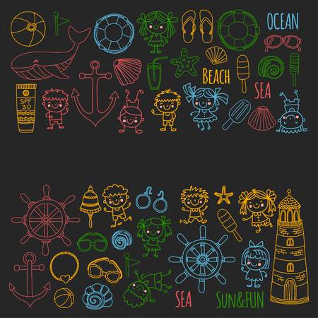 Beach set with childrens school vacation, Small kids, nursery, sea, ocean, lighthouse. Boys and girls doodle vector icons and patterns. Ilustracja