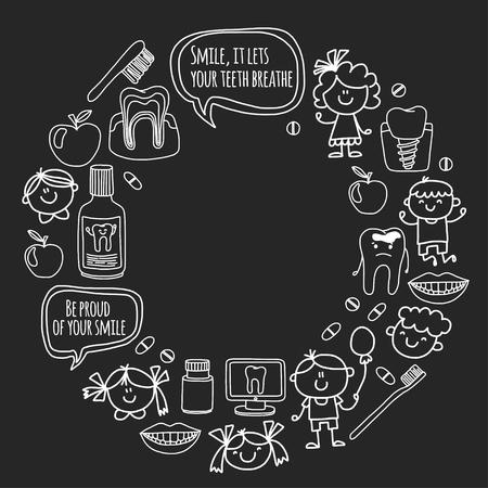 Kindertandheelkunde school, kleuterschool, kinderdagverblijf kinderen met gezonde tanden. Glimlach, tandenborstels, medicijnen gelukkige jongens en meisjes tandheelkundige behandeling zonder pijn.