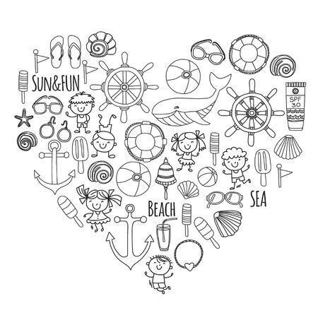Coloring page playa conjunto con vacaciones escolares de los niños, niños pequeños, vivero, mar, océano, faro. Niños y niñas doodle iconos vectoriales y patrones. Foto de archivo - 90582546