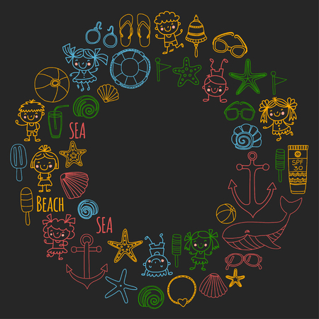 Strand set met schoolvakantie voor kinderen, kleine kinderen, kinderdagverblijf, zee, oceaan, vuurtoren. Jongens en meisjes doodle vector pictogrammen en patronen.