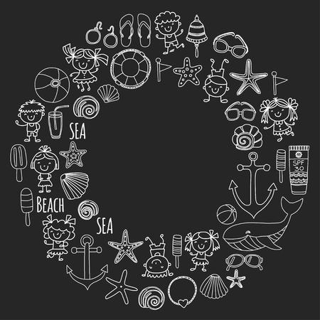 Strand set met schoolvakantie voor kinderen, kleine kinderen, kinderdagverblijf, zee, oceaan, vuurtoren. Jongens en meisjes doodle vector pictogrammen en patronen. Stockfoto - 90582551