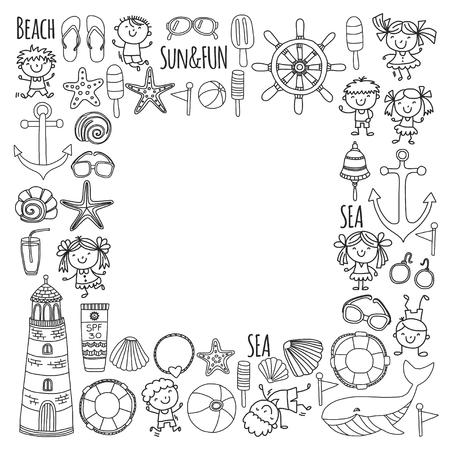 Kleurplaat strand met schoolvakantie voor kinderen, kleine kinderen, kinderdagverblijf, zee, oceaan, vuurtoren. Jongens en meisjes doodle vector pictogrammen en patronen.