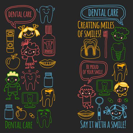 Kindertandheelkunde school, kleuterschool, kinderdagverblijf kinderen met gezonde tanden. Glimlachen, tandenborstels, medicijnen Gelukkige jongens en meisjes. Tandheelkundige behandeling zonder pijn.
