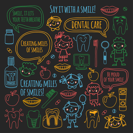 Children's dentistry school, kindergarten, nursery kids with healthy teeth. Smiles, toothbrushes, medicine Happy boys and girls. Dental treatment without pain.  イラスト・ベクター素材