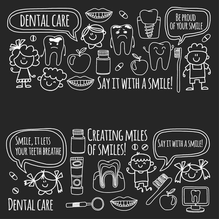 Children's dentistry school, kindergarten, nursery kids with healthy teeth. Smiles, toothbrushes, medicine Happy boys and girls. Dental treatment without pain. Vectores