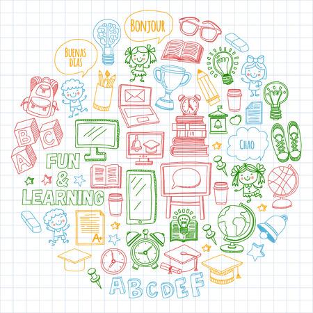 어학원 자녀, chidlren, 남학생 및 소녀. 행복한 학생들은 영어, 스페인어, 독일어, 이탈리아어, 아랍어 언어를 배우고 대학, 대학, 유치원 언어 수업 놀이,