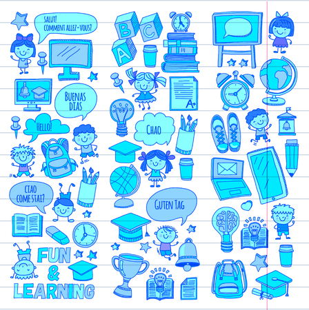 Language school Kids, chidlren, boys and girls. Happy students learning english, spanish, german, italian, arabic languages College, university, kindergarten language classes Play, study vector icons Illustration