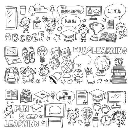 Cole de langue Enfants, enfants, garçons et filles. Heureux étudiants apprenant l'anglais, l'espagnol, l'allemand, l'italien, les langues arabes Collège, l'université, les cours de langue maternelle Jouent, étudient les icônes vectorielles Banque d'images - 90674077