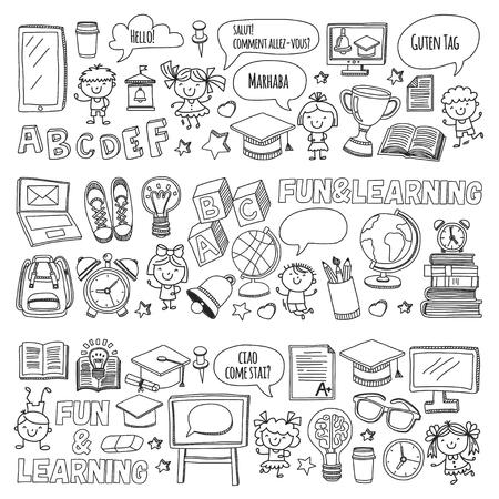 Language school Kids, chidlren, boys and girls. Happy students learning english, spanish, german, italian, arabic languages College, university, kindergarten language classes Play, study vector icons Vectores