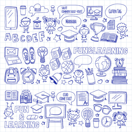 Language school Kids, chidlren, boys and girls. Happy students learning english, spanish, german, italian, arabic languages College, university, kindergarten language classes Play, study vector icons 向量圖像