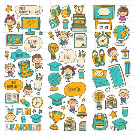 Cole de langue Enfants, enfants, garçons et filles. Heureux étudiants apprenant l'anglais, l'espagnol, l'allemand, l'italien, les langues arabes Collège, l'université, les cours de langue maternelle Jouent, étudient les icônes vectorielles Banque d'images - 90674157
