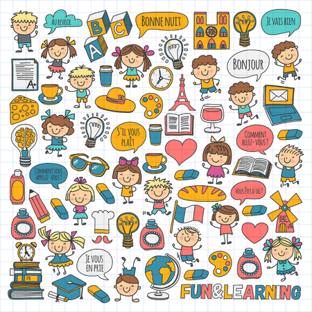 Paris, France. French class. French language. Boys and girls. Small students. School, kindergarten, nursery, college. Play, study, grow