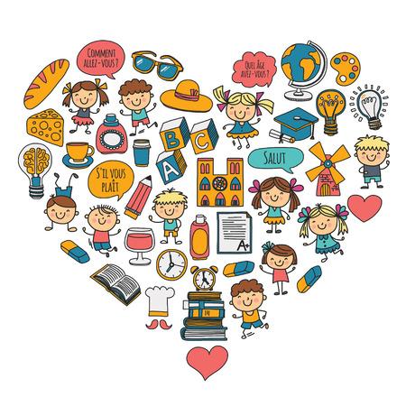 パリ, フランス.フランス語のクラス。フランス語。男の子と女の子。小学生の。学校、幼稚園、保育園、大学。遊び、勉強、成長  イラスト・ベクター素材