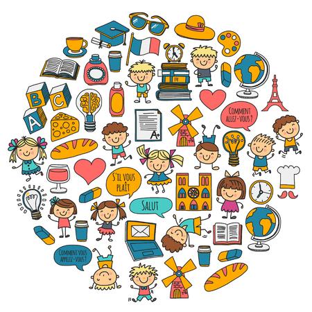 パリ、フランス。フランス語のクラス。フランス語男の子と女の子小さな学生。学校、幼稚園、保育園、大学遊ぶ、勉強する、成長する
