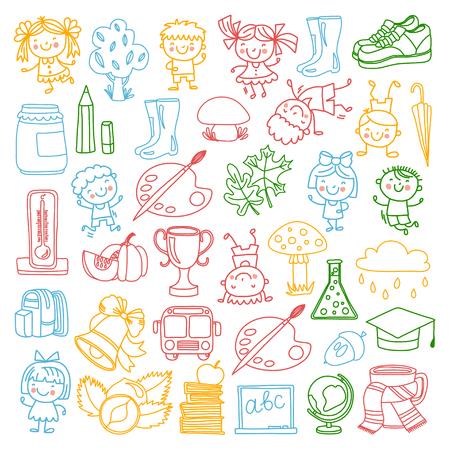 Zurück zu Schule Kinder doodle Muster Vektor-set mit Kindern, die Stilikonen zeichnen Studie, Kindergarten, Schule, Hochschule, Universität Spielen und wachsen