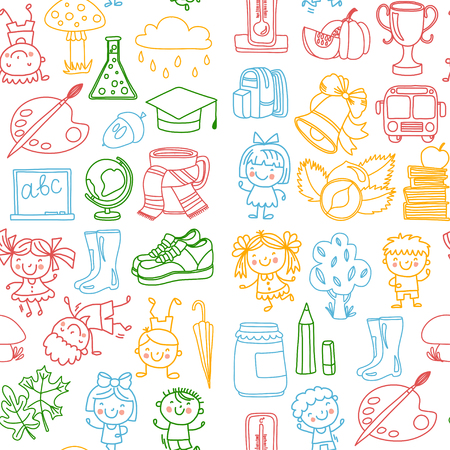 Back to school Children doodle patterns Vector set with kids drawing style icons Study, kindergarten, school, college, university Play and grow