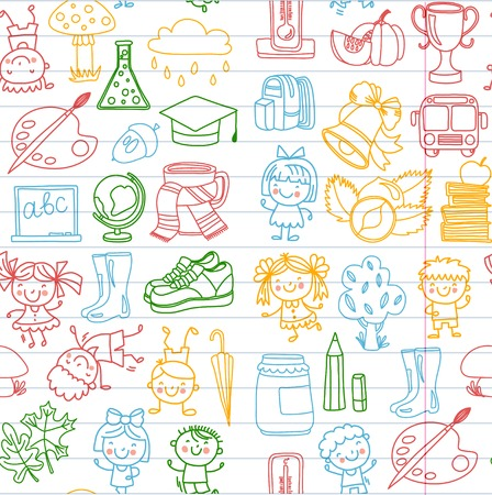 Back to school children doodle patterns set with kids drawing style. Illustration
