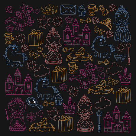 Set of doodle princess and fantasy icon and design element for invitation and greeting card. Kids drawing, preschool, school pattern