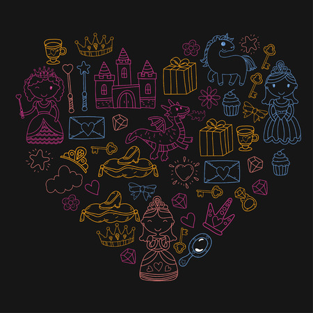 Set of doodle princess and fantasy icon and heartshaped design element for invitation and greeting card. Preschool Kids drawing of neon colors in a black background pattern Illustration