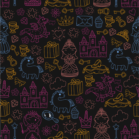 Set of doodle princess and fantasy icon and  design element for invitation and greeting card. Preschool Kids drawing of neon colors in a black background pattern Illustration