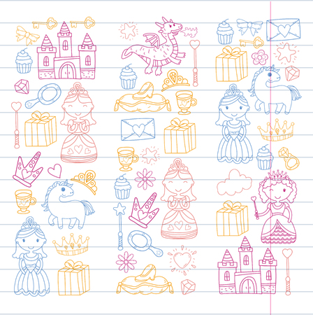 Set of doodle princess and fantasy icon and design element for invitation and greeting card. Preschool Kids drawing of neon colors on white background pattern