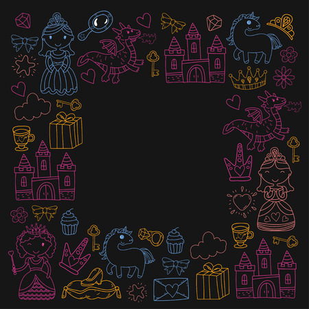 Set of doodle princess and fantasy icon borders design element for invitation and greeting card. Preschool Kids drawing of neon colors on a black background pattern