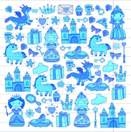 Set of doodle princess and fantasy icon Illustration