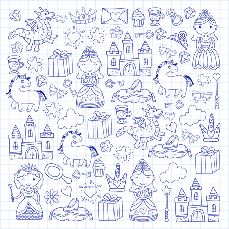Set of doodle princess and fantasy icon design element for invitation and greeting card. Preschool Kids drawing of blue colors on a white background pattern