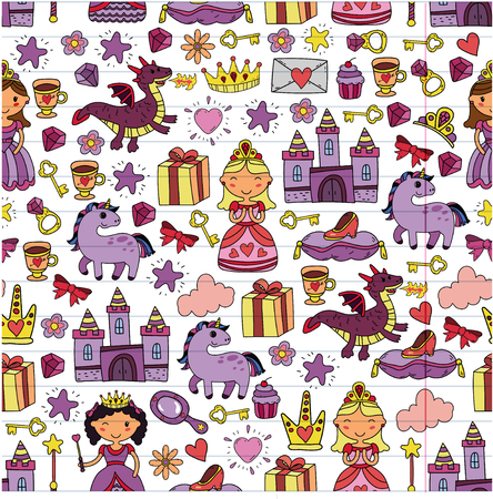 Set of doodle princess and fantasy icon and and design element for invitation and greeting card. Kids drawing, preschool, school pattern